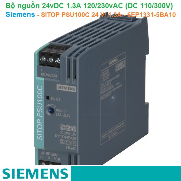 Bộ nguồn 24vDC 1.3A 1AC 120/230V (DC 110/300V) - Siemens - SITOP PSU100C 24 V/ 1.3A - 6EP1331-5BA10