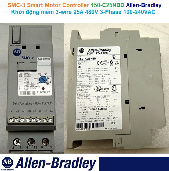 150-C25NBD Allen-Bradley SMC-3 Smart Motor Controller Khởi động mềm 3-wire 25A 480V 3-Phase 100-240VAC