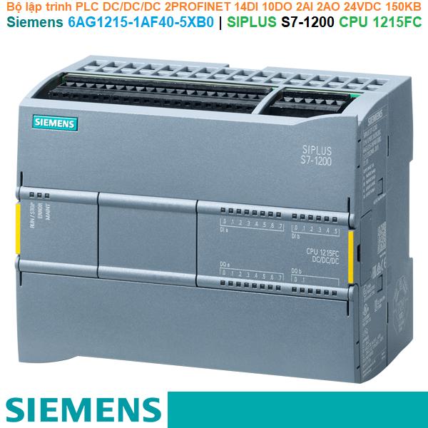 Siemens 6AG1215-1AF40-5XB0   SIPLUS S7-1200 CPU 1215FC -Bộ lập trình PLC DC/DC/DC 2PROFINET 14DI 10DO 2AI 2AO 24VDC 150KB