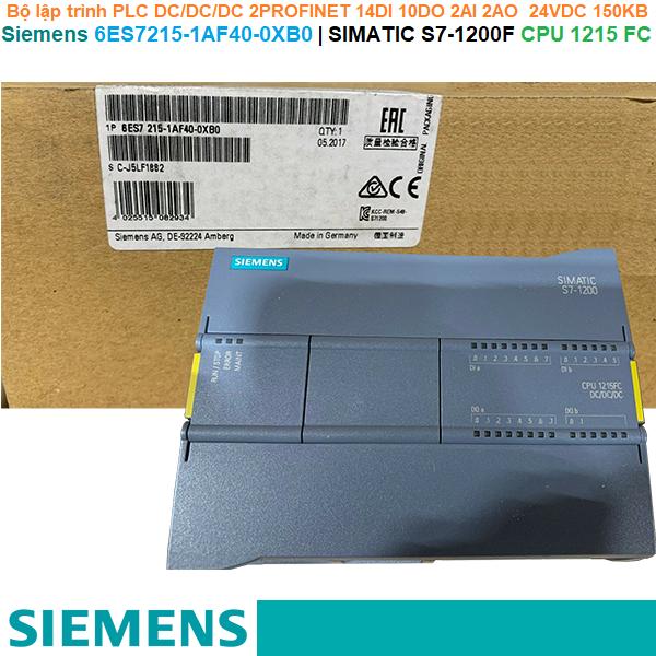 Siemens 6ES7215-1AF40-0XB0   SIMATIC S7-1200F CPU 1215 FC -Bộ lập trình PLC DC/DC/DC 2PROFINET 14DI 10DO 2AI 2AO  24VDC 150KB