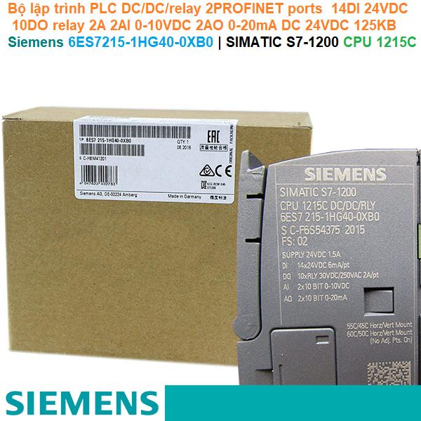 Siemens 6ES7215-1HG40-0XB0   SIMATIC S7-1200 CPU 1215C -Bộ lập trình PLC DC/DC/relay 2PROFINET ports  14DI 24VDC 10DO relay 2A 2AI 0-10VDC 2AO 0-20mA DC 24VDC 125KB