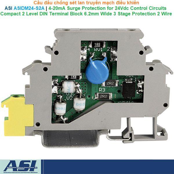 ASI ASIDM24-S2A | 4-20mA Surge protector terminal block -Cầu đấu chống sét lan truyền mạch điều khiển 24VDC 0.5A 5kA 1ns