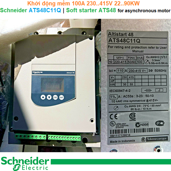 Schneider ATS48C11Q | Soft starter -Khởi động mềm ATS48 100A 230..415V 22..90KW