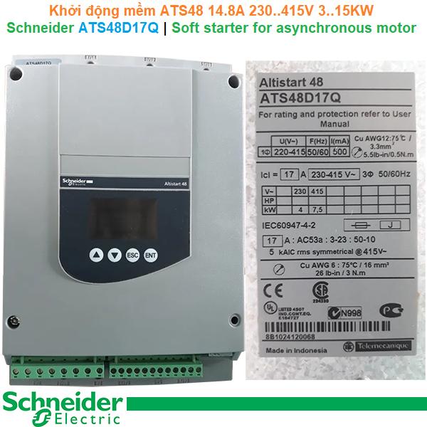 Schneider ATS48D17Q | Soft starter ATS48 -Khởi động mềm 14.8A 230..415V 3..15KW