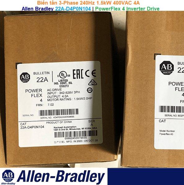 Allen Bradley 22A-D4P0N104 | PowerFlex 4 Inverter Drive -Biến tần 3-Phase 240Hz 1.5kW 400VAC 4A