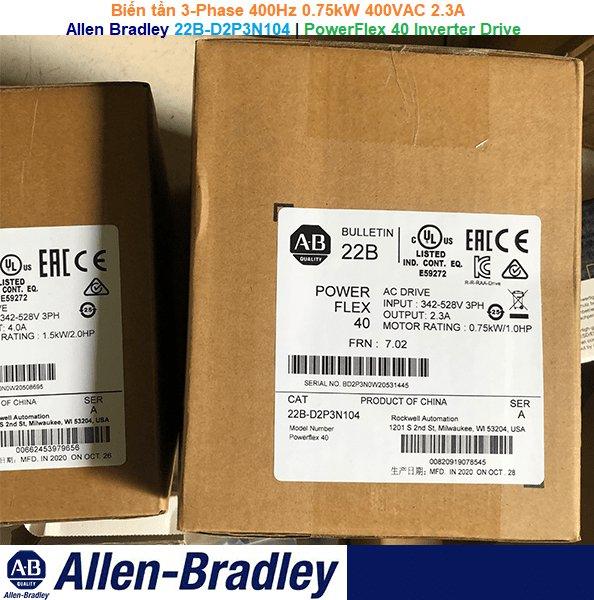 Allen Bradley 22B-D2P3N104 | PowerFlex 40 Inverter Drive -Biến tần 3-Phase 400Hz 0.75kW 400VAC 2.3A