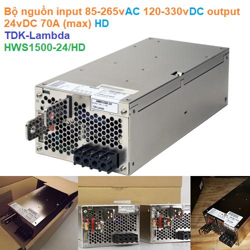Bộ nguồn input 85-265vAC 120-330vDC output 24vDC 70A (max) HD - TDK-Lambda - HWS1500-24/HD