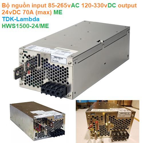 Bộ nguồn input 85-265vAC 120-330vDC output 24vDC 70A (max) ME - TDK-Lambda - HWS1500-24/ME