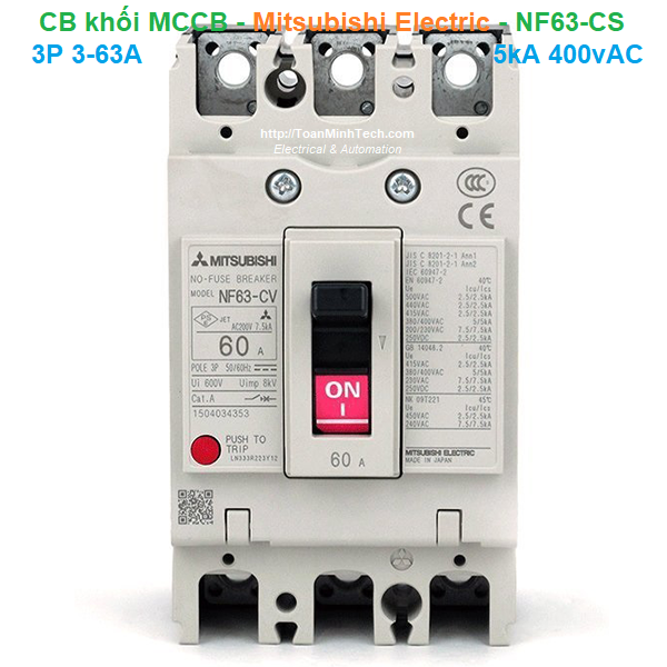 CB khối MCCB - Mitsubishi Electric - NF63-CS 3P 3-63A 5kA 400vAC