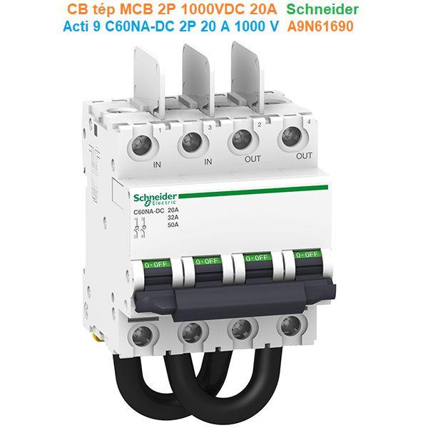 CB tép MCB 2P 1000VDC 20A - Schneider - Acti 9 C60NA-DC 2P 20 A 1000 V - A9N61690