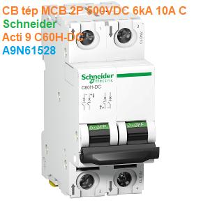 CB tép MCB 2P 500VDC 6kA 10A C - Schneider - Acti 9 C60H-DC - A9N61528