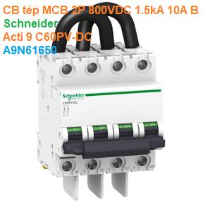 CB tép MCB 2P 800VDC 1.5kA 10A B - Schneider - Acti 9 C60PV-DC - A9N61650