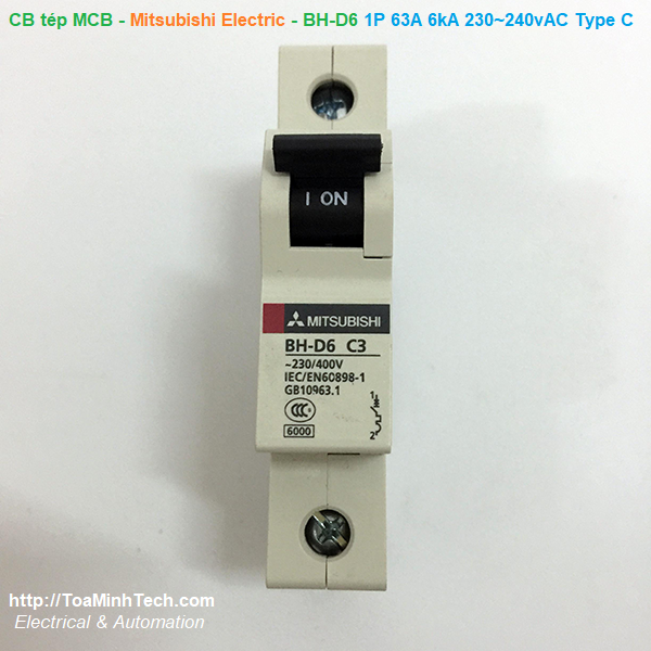 CB tép MCB - Mitsubishi Electric  - BH-D6 1P 63A 6kA 230~240vAC Type C N