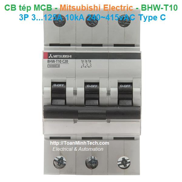 CB tép MCB - Mitsubishi Electric - BHW-T10 3P 6...125A 10kA 240~415vAC Type C