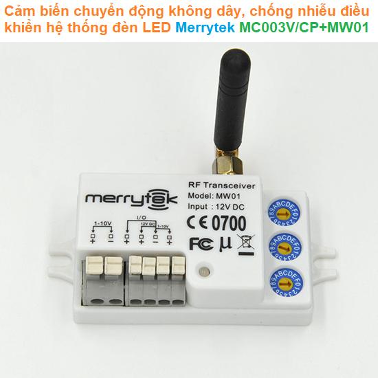 Cảm biến chuyển động không dây, chống nhiễu điều khiển hệ thống đèn LED - Merrytek - MC003V/CP+MW01