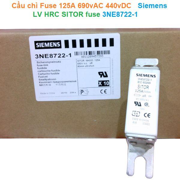 Cầu chì Fuse 125A 690vAC 440vDC - Siemens - LV HRC SITOR fuse 3NE8722-1