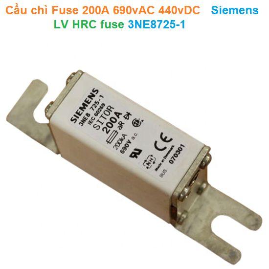 Cầu chì Fuse 200A 690vAC 440vDC - Siemens - LV HRC fuse 3NE8725-1