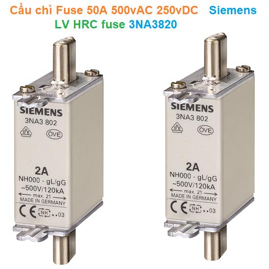 Cầu chì Fuse 50A 500vAC 250vDC - Siemens - LV HRC fuse 3NA3820