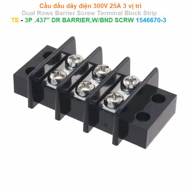 """Cầu đấu dây điện 300V 25A 3 vị trí Dual Rows Barrier Screw Terminal Block Strip - TE - 3P .437"""" DR BARRIER,W/BND SCRW 1546670-3"""