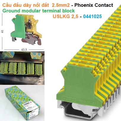 Cầu đấu dây nối đất  2.5mm2 - Phoenix Contact - Ground modular terminal block - USLKG 2,5 - 0441025