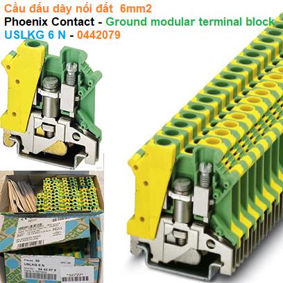 Cầu đấu dây nối đất  6mm2 - Phoenix Contact - Ground modular terminal block - USLKG 6 N - 0442079
