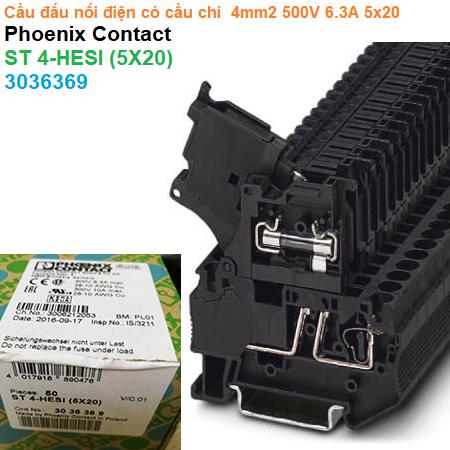 Cầu đấu nối điện có cầu chì  4mm2 500V 6.3A 5x20 - Phoenix Contact - Fuse modular terminal block - ST 4-HESI (5X20) - 3036369