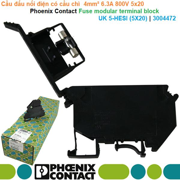Cầu đấu có cầu chì  4mm² 6.3A 800V 5x20 - Phoenix Contact - Fuse modular terminal block UK 5-HESI (5X20) | 3004472