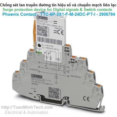 Chống sét đường tín hiệu số và chuyển mạch liên lạc - Phoenix Contact - TTC-6P-2X1-F-M-24DC-PT-I - 2906794