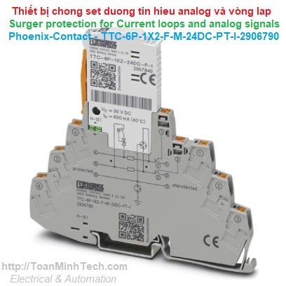 Chống sét đường tín hiệu Analog và current loop - Phoenix Contact - TTC-6P-1X2-F-M-24DC-PT-I - 2906790