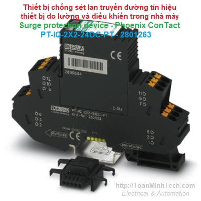 Chống sét lan truyền đường tín hiệu thiết bị do lường, điều khiển nhà máy - Phoenix Contact - PT-IQ-2X2-24DC-PT 2801263