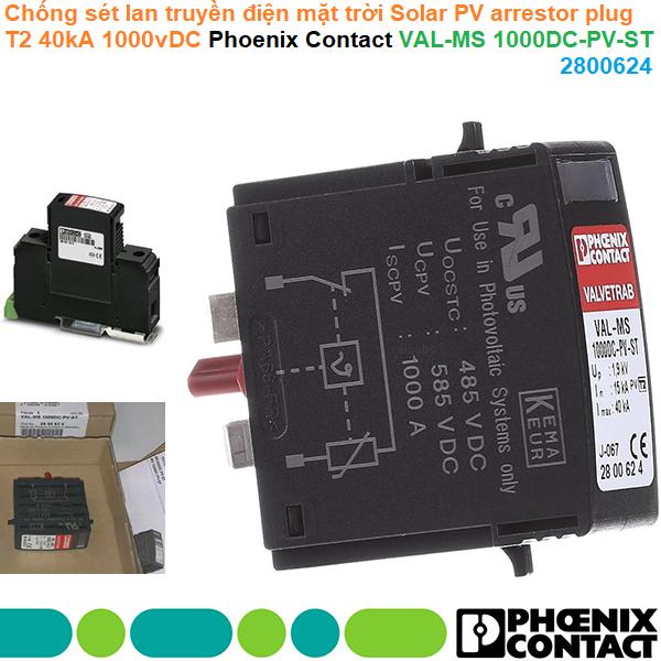 Chống sét lan truyền điện mặt trời Solar PV arrestor plug T2 40kA 1000vDC - Phoenix Contact - VAL-MS 1000DC-PV-ST - 2800624
