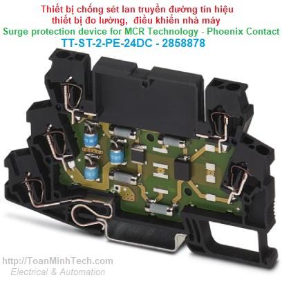 Chống sét lan truyền đường tín hiệu thiết bị đo lường, điều khiển nhà máy - Phoenix Contact - TT-ST-2-PE-24DC 2858878