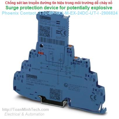 Chống sét lan truyền đường tín hiệu trong môi trường dễ cháy nổ - Phoenix Contact - TTC-6P-1X2-M-EX-24DC-UT-I - 2906824