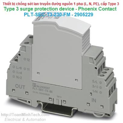 Thiết bị chống sét lan truyền đường nguồn 1 pha, 3 dây (L, N, PE) Loại T3 - Phoenix Contact - PLT-SEC-T3-230-FM - 2905229