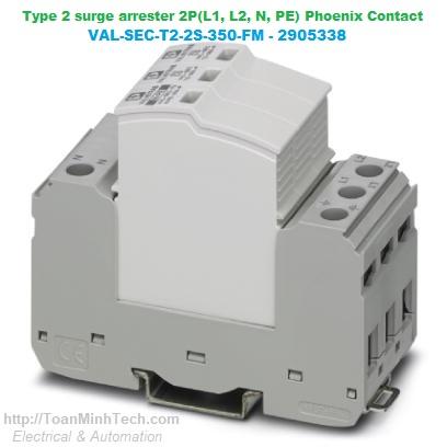 Thiết bị chống sét lan truyền đường nguồn 2 pha, 3 dây (L1, L2, PEN) Loại T2 - Phoenix Contact - VAL-SEC-T2-2C-350-FM 2905337