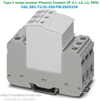 Thiết bị chống sét lan truyền đường nguồn 3 pha, 4 dây (L1, L2, L3, PEN) Loại T1 -Phoenix Contact -FLT-SEC-P-T1-3C-350/25-FM 2905419