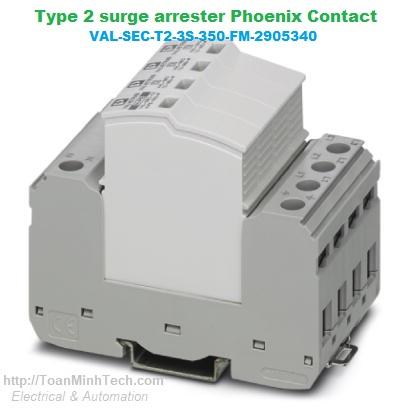 Thiết bị chống sét lan truyền đường nguồn 3 pha, 5 dây (L1, L2, L3, N, PE) loại T2 - Phoenix Contact - VAL-SEC-T2-3S-350-FM 2905340