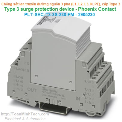 Thiết bị chống sét lan truyền đường nguồn 3 pha, 5 dây (L1, L2, L3, N, PE) Loại T3 -Phoenix Contact -PLT-SEC-T3-3S-230-FM 2905230