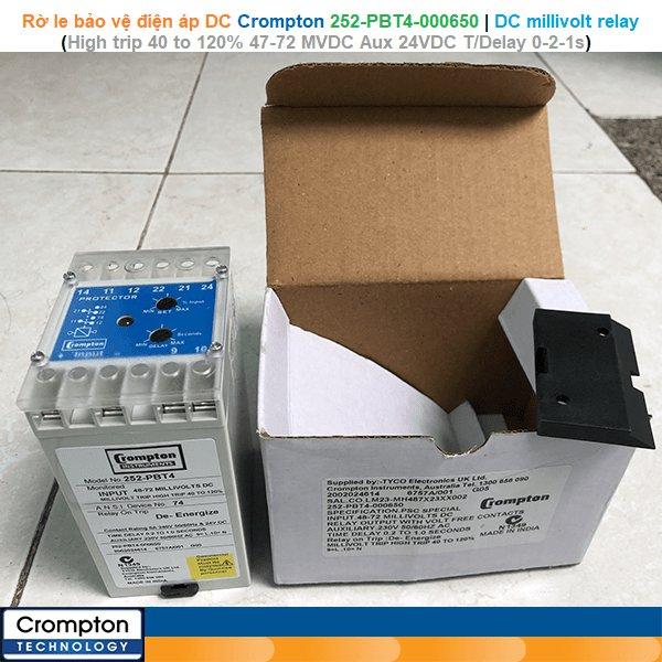 Crompton 252-PBT4-000650   DC millivolt relay -Rờ le bảo vệ điện áp DC High trip 40 to 120% Input 47-72 MVDC, Aux 24 VDC option, T/Delay 0-2-1 sec