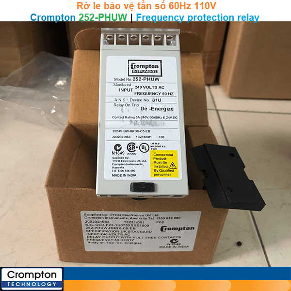 Crompton 252-PHUW   Frequency protection relay -Rờ le bảo vệ tần số 60Hz 110V