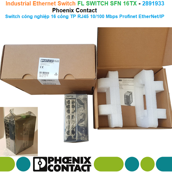 FL SWITCH SFN 16TX - 2891933 Phoenix Contact - Switch công nghiệp 16 cổng TP RJ45 10/100 Mbps