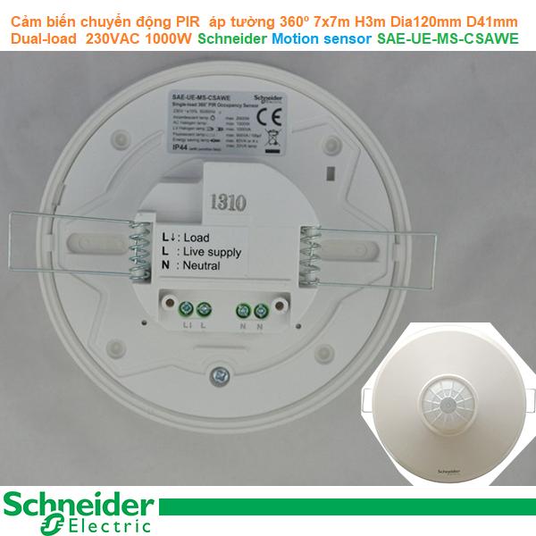 Cảm biến chuyển động PIR áp tường 360º 7x7m H3m Dia120mm D41mm Single-load  230VAC 1000W  - Schneider - Motion sensor SAE-UE-MS-CSAWE