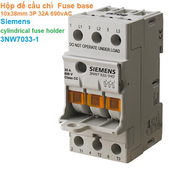 Hộp đế cầu chì  Fuse base 10x38mm 3P 32A 690vAC - Siemens - cylindrical fuse holder 3NW7033-1