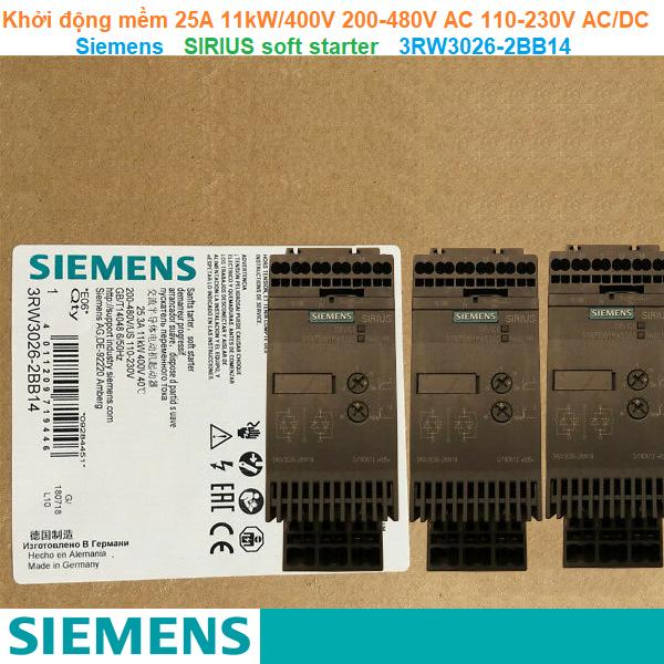 Khởi động mềm 25A 11kW/400V 200-480V AC 110-230V AC/DC - Siemens - SIRIUS soft starter 3RW3026-2BB14