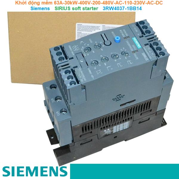 Khởi động mềm 63A 30kW/400V 200-480V AC 110-230V AC/DC - Siemens - SIRIUS soft starter 3RW4037-1BB14