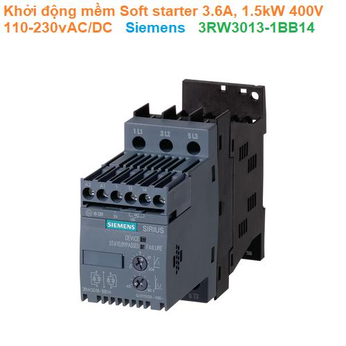 Khởi động mềm Soft starter 3.6A, 1.5kW 400V 110-230vAC/DC - Siemens - 3RW3013-1BB14