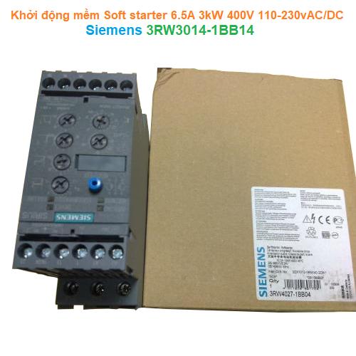 Khởi động mềm Soft starter 6.5A 3kW 400V 110-230vAC/DC - Siemens - 3RW3014-1BB14