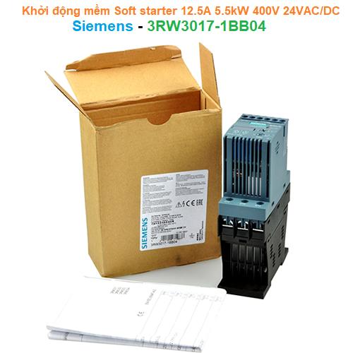 Khởi động mềm Soft starter 12.5A 5.5kW 400V 24VAC/DC - Siemens - 3RW3017-1BB04