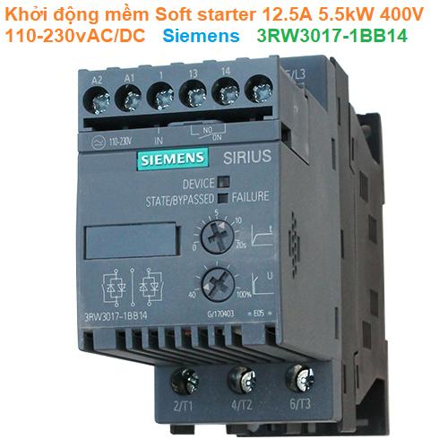 Khởi động mềm Soft starter 12.5A 5.5kW 400V 110-230vAC/DC - Siemens - 3RW3017-1BB14