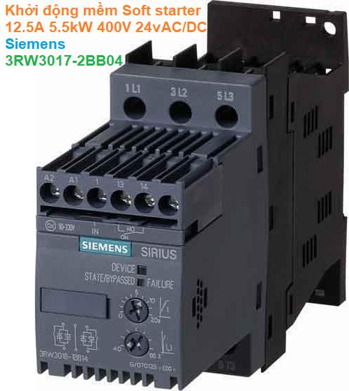 Khởi động mềm Soft starter 12.5A 5.5kW 400V 24vAC/DC - Siemens - 3RW3017-2BB04